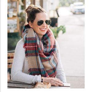 Oversize plaid blanket scarf